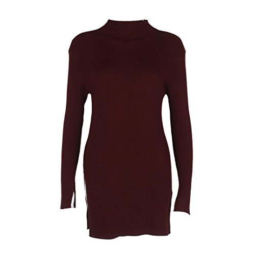 Transer ® Pull Femme,Sexy femme manches longues Slim Couleur unie Pull Top Knit d'hiver Rouge
