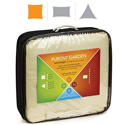 Purovi® Sonnensegel Quadrat | Verschiedene Größen | UV Schutz | wasserabweisendes PES | Größe 4 x 4m