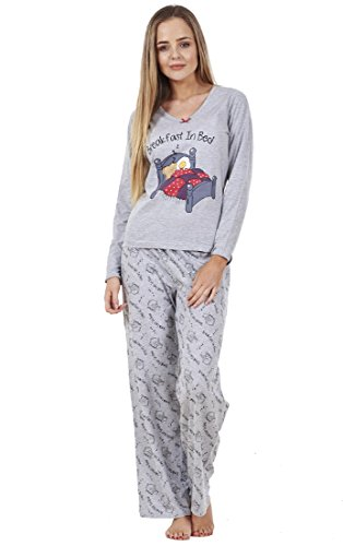 BHS Ladies Long Sleeve Love Cotton PJ's Set Nightwear Womens Pyjamas