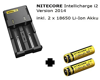 NiteCore Intellicharge i2 Version 2014 inkl. 2 x 18650 Li-Ion Akku von NiteCore - Outdoor Shop