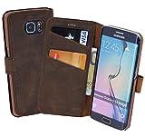 Book-Style Ledertasche Tasche für Samsung Galaxy S6 Edge *ECHT LEDER* Handytasche Case Etui Hülle (Original Suncase) in antik - dunkel braun