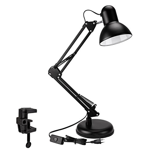 Lampe de Bureau LED avec Bras Pliable, Aglaia Lampe de Table avec option Serre-joint, pince ou base, Lampe de Table, Lampe de Chevet, Lampe d'architecture, lampe rétro, lampe design Culot E27