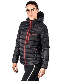 Sundried para Mujer Negro Acolchado Abrigo de Invierno cálido con Capucha de la Chaqueta Puffer -