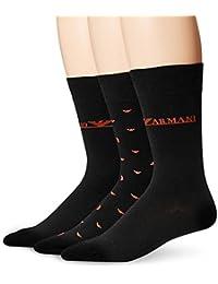 Lot de 3 paires de chaussettes Emporio Armani : 2 modèles noirs et 1 modèle noir à logos Eagle rouges