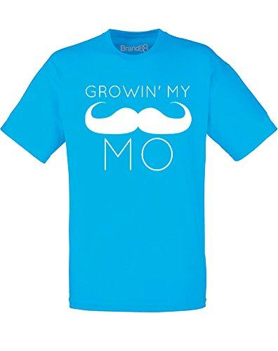 Brand88 - Brand88 - Growin' My Mo, Mann Gedruckt T-Shirt Azurblau/Weiß