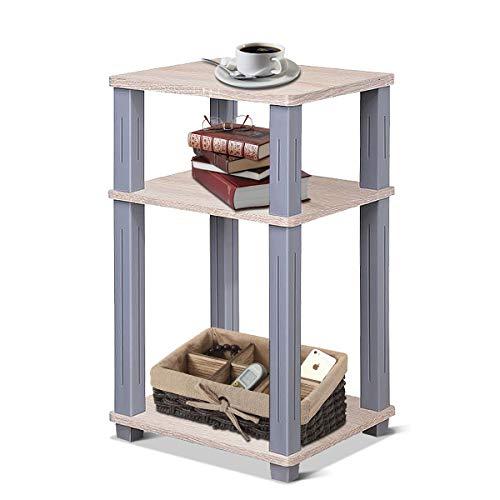COSTWAY Beistelltisch Kaffeetisch Sofatisch Standregal Badregal Nachttisch Ablagetisch Telefontisch, braun, mit 3 Ebenen