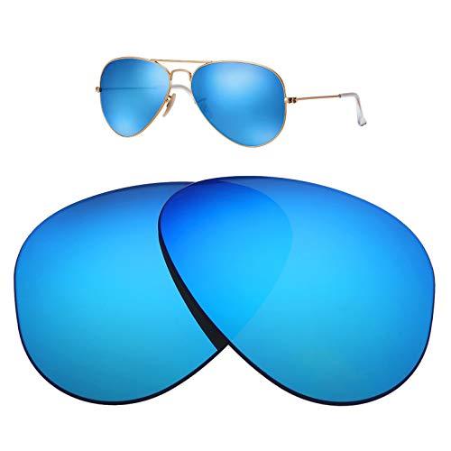 HEYDEFO Ersatzgläser für Ray-Ban Aviator Large Metal RB3025 58 mm Sonnenbrille, 100% UV-Schutz, Blue Flash