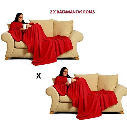 2x Batamantas manta para sofa con mangas y con bolsillo │ Pijama Bata manta Rojas ®
