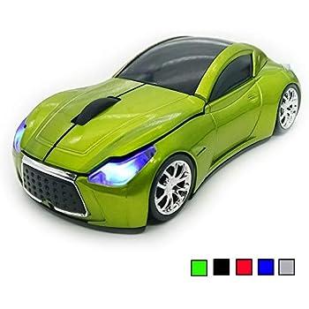 TDRTECH 2.4GHz Ratón Inalámbrico, [Estilo Deportivo] Cool Ratón con Forma de Coche, 3D 1600 DPI para Laptop, PC, Ordenador, Chromebook, Notebook (Verde)