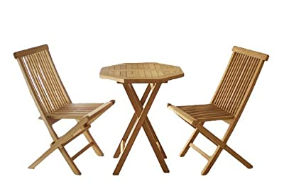 DIVERO Gartenmöbelset Sitzgruppe Teakholz Tisch Ø 60cm 3 tlg Klappstuhl 3er Set