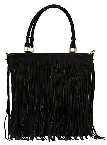 Girly HandBags Fringe Shoulder Bag Italian Suede Leather -- Black