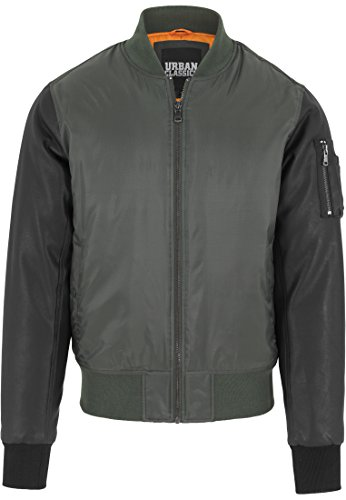 Urban Classics - Jacke Basic Bomber Leather Imitation Sleeve Jacket, Giacca Uomo, Multicolore (Olv/Blk), X-Large (Taglia Produttore: X-Large)