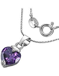 Fashion Kristall Love Herz Charm Halskette mit Schmuckstein – Lila