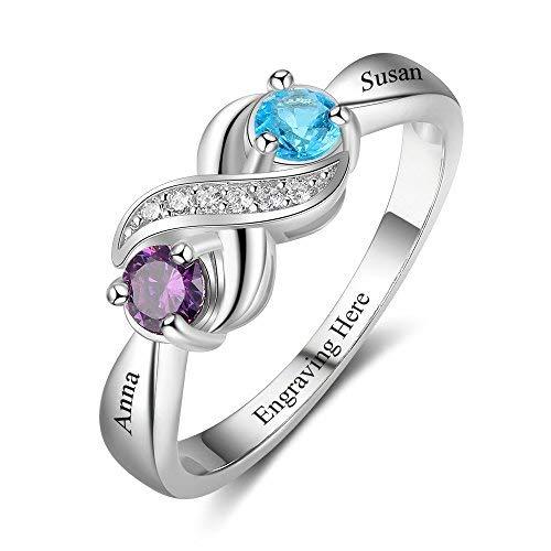 Lam Hub Fong Personalisierte Infinity Mothers Ring mit 2 runden simulierten Birthstones Engagement Versprechen Ringe für Frauen (56 (17.8)) (Ring Love Mothers)