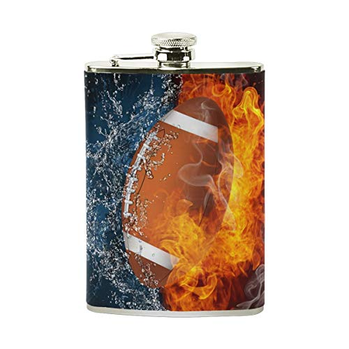 Gxdchfj Steel Stainless Flask,Fire Water American Football Leather Pocket Funnel with Screw Top,Liquor Alcohol Whiskey Classic Hip for Men,7 OZ