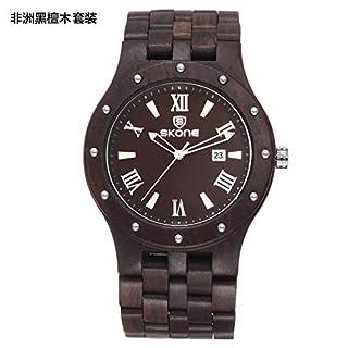SJXIN Schöne und stilvolle Armbanduhr, Pure Holz Quarzuhr Männer afrikanische Ebenholz Uhr Modeuhren (Color : 1)
