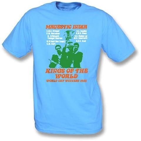 Camiseta majestuosa 1983 - muchachas de los ganadores del mundial de la India Slimfit X-Grande, azul de cielo del color