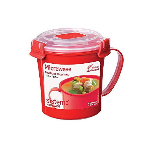 Sistema Microwave Soup Mug, 656 ml - Red/Clear