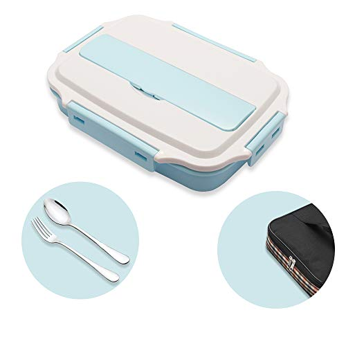 mreechan Lunch Box per Bambini 3 Scomparti per Lunch Box Contenitore con Cucchiaio e forchetta con Isolamento riscaldabile nel microonde Adatto