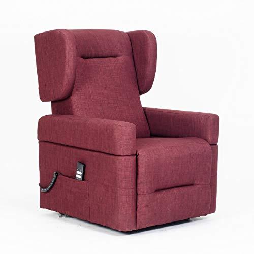 Meinrelaxsessel - Fernsehsessel Lexa 2 Motoren mit abnehmbaren Armlehnen und Tisch, unabhängige elektrische Neigung und Aufstehhilfe - Fernsehsessel-Lexa-RED Rot Stoffbezug