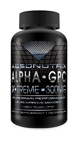 Absonutrix Alpha GPC Xtreme - 300mg - 60 capsules - Improve Memory, Focus, Brain Performance, Power Output and GH levels Test