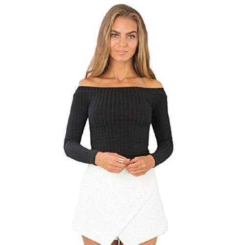 OVERDOSE Damen Ärmel Kurzarm Top Enge Sweater Knitting beiläufiges trägerloses T-Shirt (S, Schwarz) -