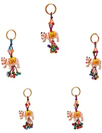 Royal Arts & Crafts Handmade Handicraft Decorative Rajasthani Caw Designed Key Chain 4 Piece Set Multi-Colored