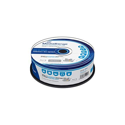 MediaRange BD-R 25GB 6-Fache Schreibgeschwindigkeit, Vollflächig bedruckbar, 25er Cakebox