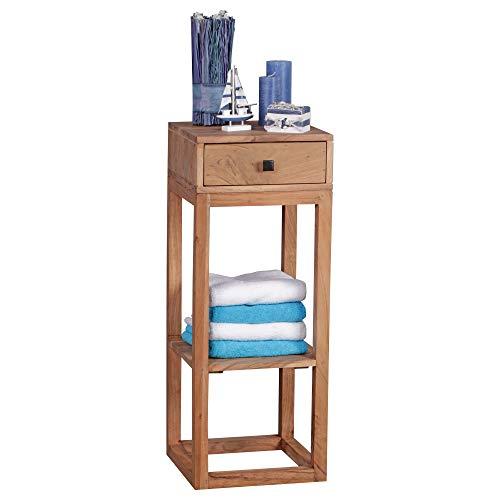 FineBuy Massiver Beistelltisch PATAN Akazie Holz Massiv 90 x 35 x 35 cm | Telefontisch mit Schublade für Flur Anrichte | Moderne Konsole mit Ablage -
