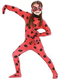 Eleasica Enfant Miraculeux Ladybug Costume Combinaison Fille Masque Sac Cosplay Rouge Déguisement Cadeau Noël Anniversaire Carnaval Halloween Fête