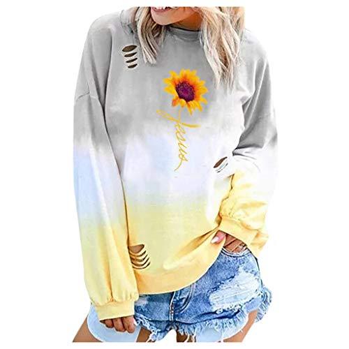 Damen Pullover Sumeiwilly Farbverlauf Rundhals Langarm Drucken Pullover Mode Lässig Loses Loch Street Style Sweatshirt Shirt Freizeithemd Herbst -