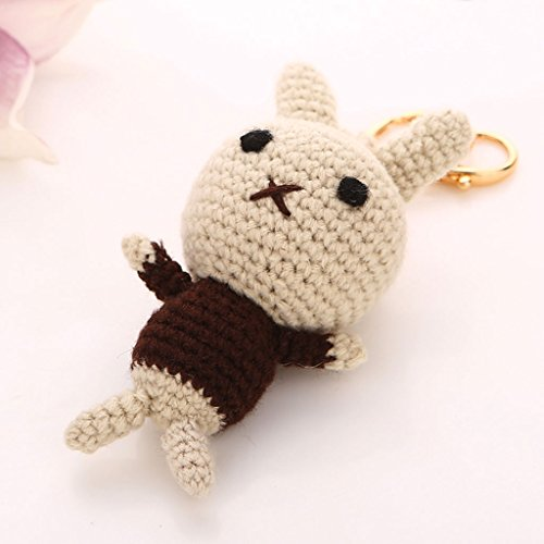 PLL Korea Creative Wool Knit Cute Bunny Car Keychain Key Chain Ms. Bags Packages