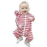 Babykleidung Shopaholic0709 3 Pcs Babykleidung Langärmeliges Ausstattung (6M-24M) Kinder langärmelige Gestreifte Kapuzenoverall Jumpsuit Babymode Neugeborenen Set Kleidung
