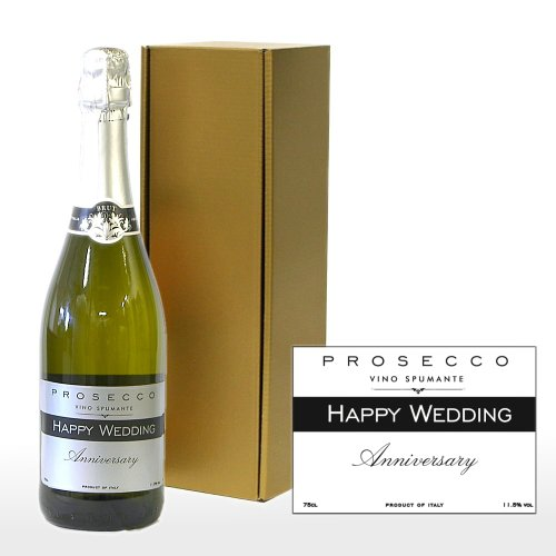 Personalised 750ml Fine Sparkling Prosecco White Wine with 'Happy Wedding Anniversary' on the Label in a Gold Gift Box - Gift Ideas for Couples, Wedding, Anniversary, Him and Her