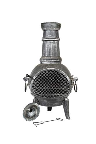 La Hacienda Arriba Steel Chimenea with Cast Iron Legs and Grill, Pewter Effect, 56140
