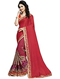 Dhruvi Trendz Women's Georgette & Silk Embroried Saree With Blouse Piece Material