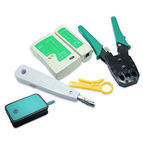 NUZAMAS Ethernet LAN RJ11 RJ45 CAT5 Kabel Tester Netzwerk Analyzer Draht Crimpen Crimper Stripper Tool Kit Stanz-Netzwerk-Tools Set von 4 -