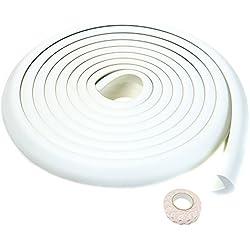 TUKA 5 Mètre Rouleau en Mousse, L-Forme Protecteurs Bords de Table, Super Souple Anti Choc Mousse Bord Protecteur, Sécurité épreuvage pour Bébé Enfants, Protections de rebords, Blanc, TKD7000 White