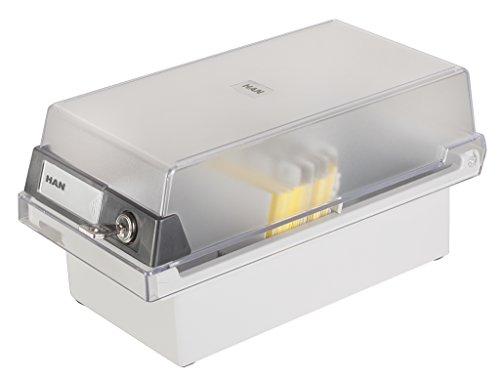 HAN 967-S-631, Karteikasten Special Edition A7 quer, Innovatives, attraktives Design für 800 Karten mit Schloss, abnehmbarer Deckel inklusive großem Beschriftungsfeld, lichtgrau-transluzent