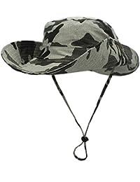Gr Eleganter Fischer Hut faltbare UV-Schutz im Freien Breiter Krempe Bucket Hut Cowboy-Hut Breiter Krempe floppy Sommer Hüte für Frauen (Color : Khaki)