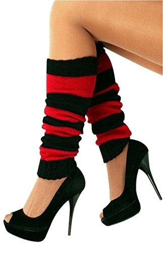 krautwear® Damen 1 Paar Stulpen Beinwärmer Legwarmers Overknees gestrickte Strümpfe 80er Jahre 1980er Jahre (schwarz/rot)
