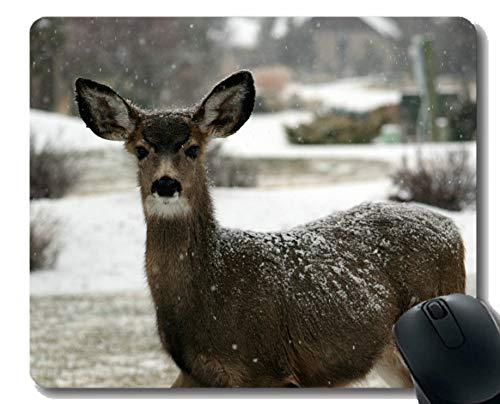 Rutschfeste Mausunterlage für Desktops, Rehe, Damhirsche, weiße Rute und schneebedeckte Kanten