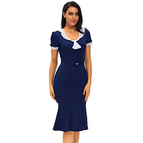 PU&PU Femmes Occasionnels / Sorties Vintage élégant ondulé gaine robe, col rond manches courtes Deep Blue