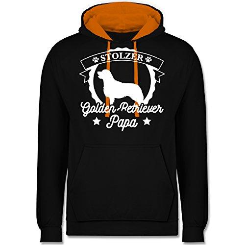 Hunde - Stolzer Golden Retriever Papa - Kontrast Hoodie Schwarz/Orange