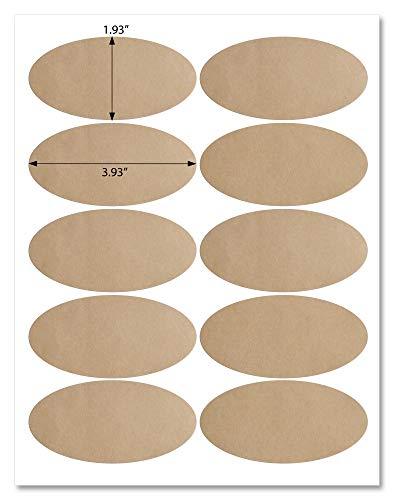 BK39 Etiketten aus Kraftpapier, oval, 10 x 5 cm, mit Vorlage und Druckanleitung, 5 Blatt, 50 Etiketten