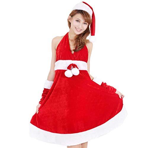 BESTOYARD Mrs Claus Kostüm Weihnachten Frauen Cosplay Kostüm Fräulein Santa Kostüm Frau Weihnachtsmann Anzug Weihnachten Kostüm (Rock + Hut + Handschuhe)