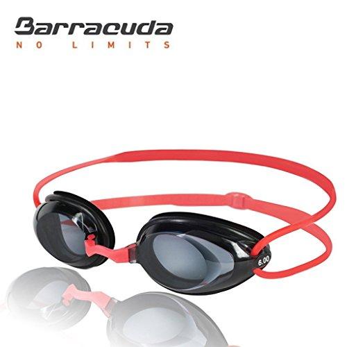 BARRACUDA Dr. B Optische Schwimmbrille Goggles Kurzsichtigkeit Absolvent Mount Aerodynamik Fugenkelle von Silikon Anti Fog UV anti-rotura bequemer Wettbewerb Unisex Erwachsene Optical # 2195rot