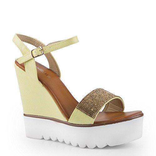 Ideal Shoes - Sandales compensées effet pailleté et décorées de strass Danae Jaune