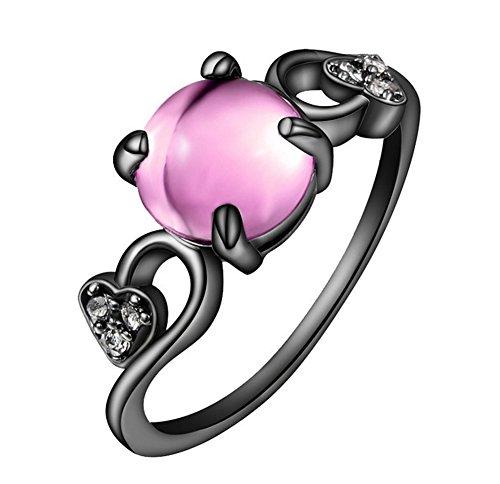 AIUIN, anello nero in lega di alta qualità, con zirconi A5, adatto per fedi nuziali per uomo e donna, opaco, comodo da indossare e Argento, 56 (17.8), colore: Rosa, cod. LOLKH