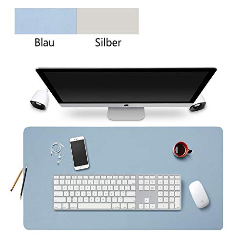 Schreibtischunterlage,60 * 30cm Rutschfeste Pu-leder Multifunktionale Schreibtischunterlage,Mauspad,zweiseitig nutzbar Schreibtisch Pad Protector Gaming Schreibmatte für Büro/Zuhause (Blau+Silber) -